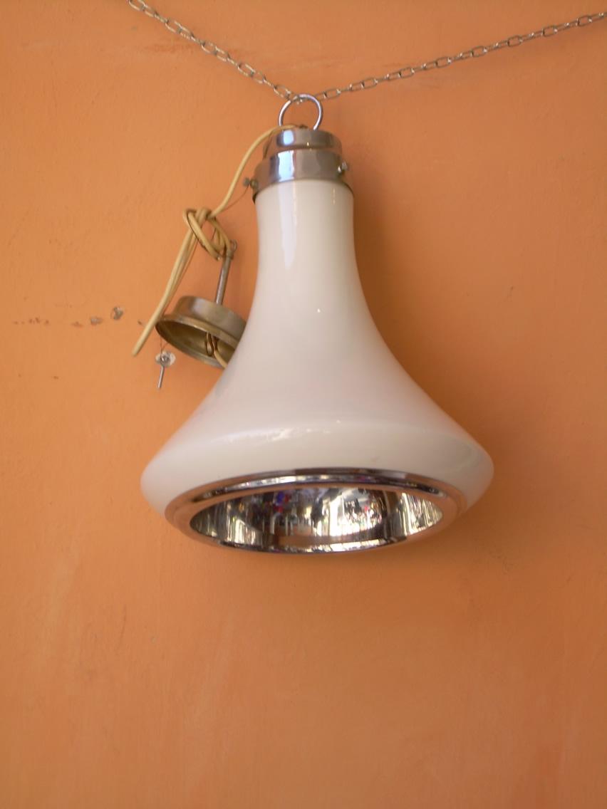 lampadario vetro e cromo anni